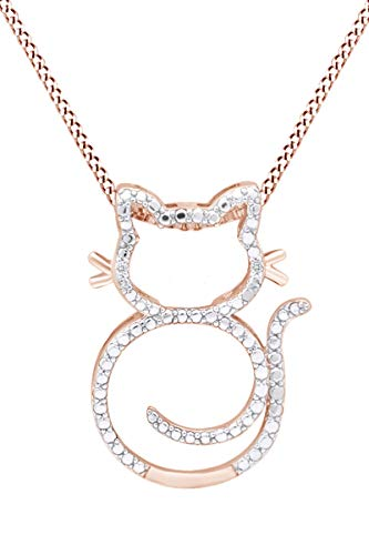 Round Shape Natural Diamond Accent Cat Pendant Necklace in 14K Rose Gold Over Sterling Silver