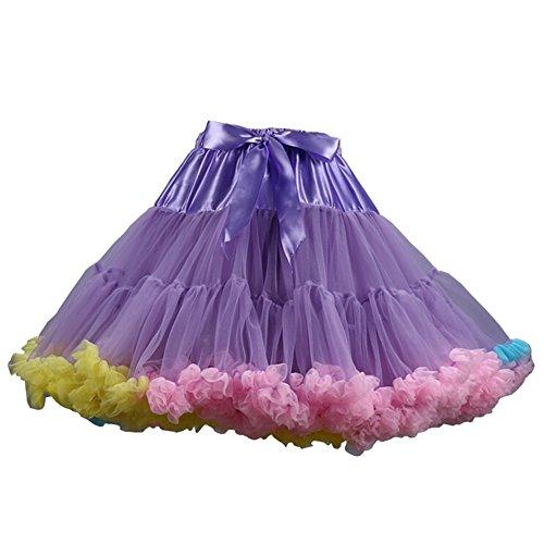 Adult Tutu Fluffy Party Skirt Multi Color Princess Ballet Pettiskirt Women's Dancewear Purple Rainbow