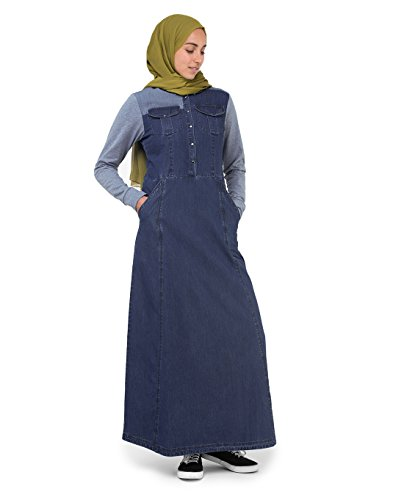 Silk Route Grey Contrast Fine Denim Maxi Dress Jilbab Medium 56 by Silk Route (Image #6)
