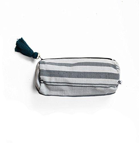 Guatemalan Shoulder Bag - Handwoven Guatemalan Make Up Bag from Purse & Clutch, Gray Stripes (Small)