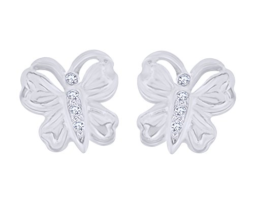 Round Cut White Natural Diamond Accent Cute Butterfly Stud Earrings in 10K Solid White (White Gold Diamond Butterfly Pin)
