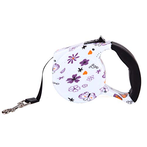 Retractable Dog Leash 16 ft Dog Walking Leash for Large Medium Small Dogs up to 110 lbs (Butterfly)