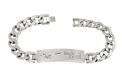 Iconic and impressive Ford Mustang FIFTY YEARS - 50th Anniversary bracelet for a woman or man. Rhodium plated Brass. Solid 3D design ID style made to last. Measures 8 inches long.