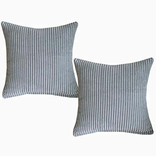 Set Sunday Palm (Sunday Praise Solid Decorative Pillows Covers Set of 2 Velvet Square Pillows Cases 18x18 Inch Striped Handmade Throw Cushion Covers for Couch,Sofa,Bed,Chair,Silver Grey)