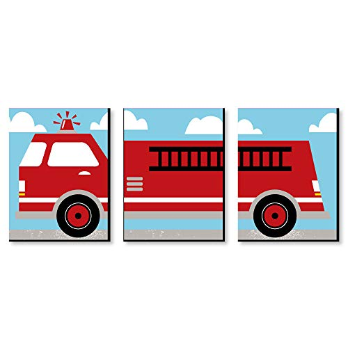 Fired Up Fire Truck - Firefighter Firetruck Nursery Wall Art and Kids Room Decorations - 7.5 x 10 inches - Set of 3 Prints