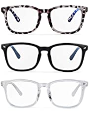 Blue Light Glasses, 3pack Blue Light Blocking Glasses. Reduce Eye Fatigue. Dryness and Vision Loss. Anti-Fatigue Computer Game Glasses.Wear Glasses Cloth and (Black + Transparent + Leopard)