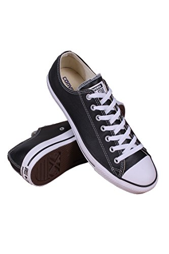 Converse Unisex Chuck Taylor All Star Low Top Leather Black Sneaker - 4 Men - 6 Women (Black Leather Shoes Converse)
