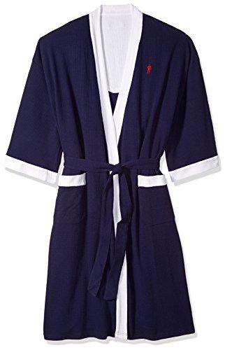 Jockey Men's Size Waffle-Weave Kimono Robe, Navy/White, (Mens Tall Robe)