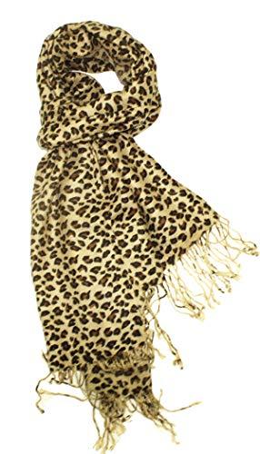 Animal Print Fringed Shoulder Pashmina Wrap Scarf - Leopard Zebra Patterns