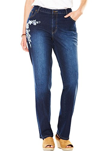 Women's Plus Size Petite Straight Leg Stretch Jean Blue Folk Embroidery,28 Wp Detail Straight Leg Jeans