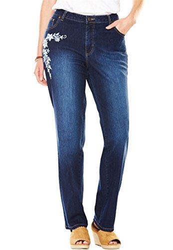 Button Jeans Petite Five (Women's Plus Size Petite Straight Leg Stretch Jean Blue Folk Embroidery,16 Wp)