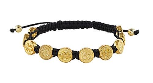 Gold Tone Saint St Benedict Medal on Adjustable Cord Bracelet, 8 Inch, Black (Gold Gold Medal Tone)