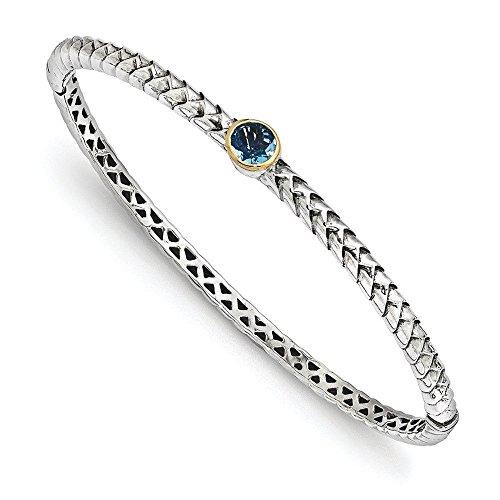 Sterling Silver avec 14 carats 6 mm topaze bleue Bracelet JewelryWeb