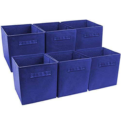 Sorbus Foldable Storage Cube Basket Bin (6 Pack, Royal -