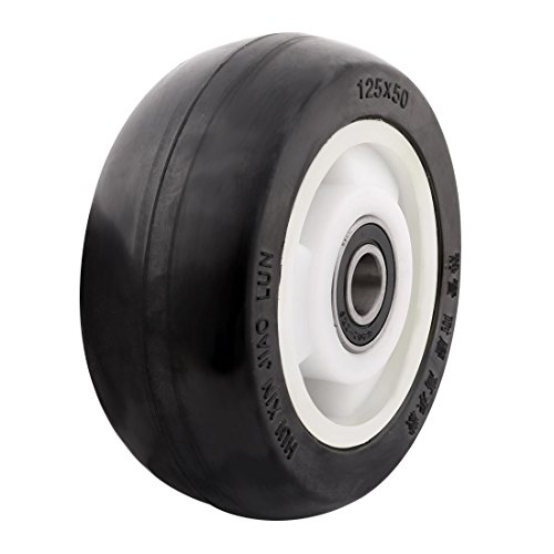 uxcell 5'' Rubber on Hard plastic Wheel with Bearing, shim, and Bushing, Replacement For Carts, Furniture, Dolly, Workbench, Trolley, Black, Wheel Only by uxcell