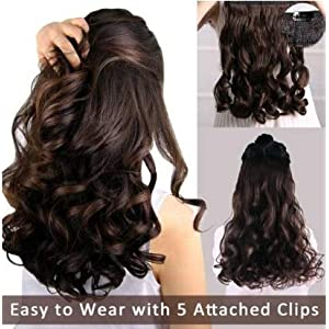 Iyaan Curly Hair Extensions 5 Clips Based Hair Extension Dark Brown Hair Styling Accessories For Women And Girls 45…