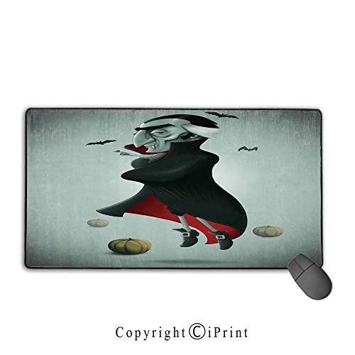 Game speed version medium cloth mouse pad,Vampire,Creepy Halloween Night Pumpkins and Old Vampire with Cape Flying Bats,Black Almond Green Red, Non-slip rubber base Mouse pad with lock,15.8