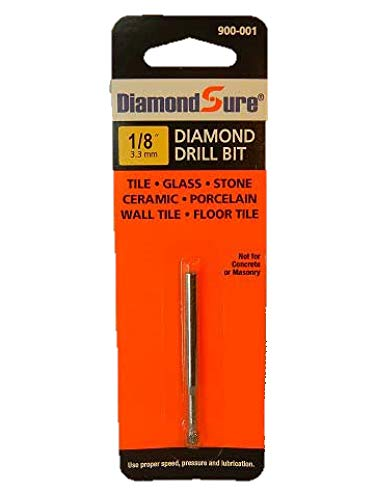 1/8 Inch 3.3 mm DiamondSure Diamond Drill Bit Holes Saw for Glass, Tile, Granite, Ceramic, Porcelain, Stone