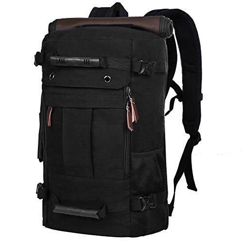 Vbiger Men Canvas Travel Hiking Camping Backpack Canvas Ruck