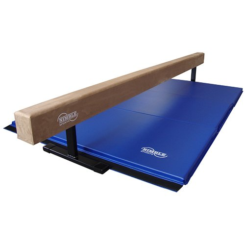 "Nimble Sports Tan 8ft 12"" High Suede Balance Beam 6ft Blue Gymnastics Mat"