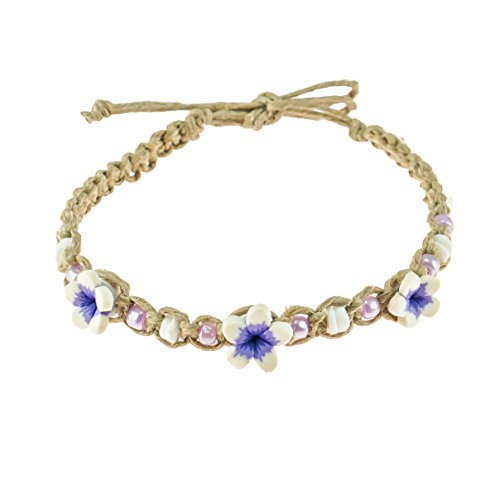 - BlueRica Hemp Anklet Bracelet with Puka Clam Shell Beads, Purple Glass Beads and Purple 3D Fimo Flower Beads