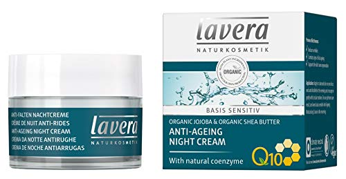 lavera Anti-Aging Night Cream with innovative natural composition of coenzyme Q10, Organic Jojoba Oil & Shea Butter to fight wrinkles, fine lines & signs of skin aging while you sleep - 1.7 Oz