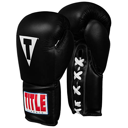Title Mma Training - Title Classic Leather Lace Training Gloves 2.0, Black, 14 oz