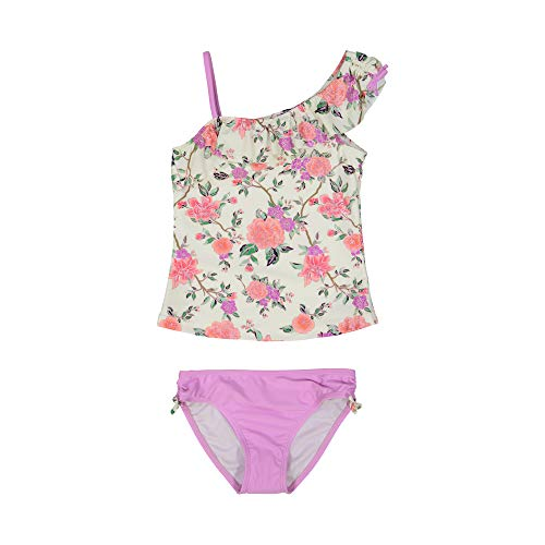 (Tommy Bahama Girls' 2-Piece Tankini Swimsuit Bathing Suit Bikini, Floral Lavender, 4T,Toddler)