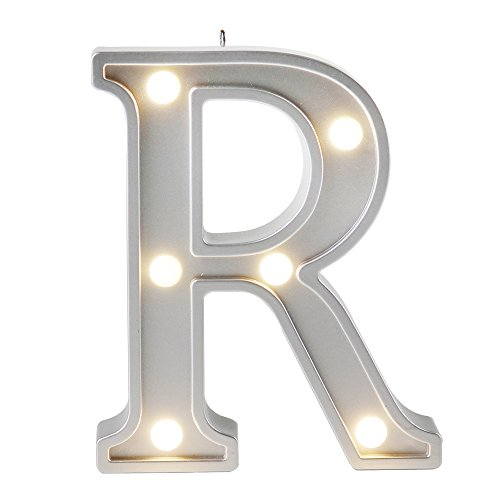 Small Letter R Home Decor DIY Creative LED Night Lights Birthday Gift Bedroom Lamp Wall Hanging Photography Wedding Decor Party Decorations Color Silver 1pcs (Hanging Wall Lamps)