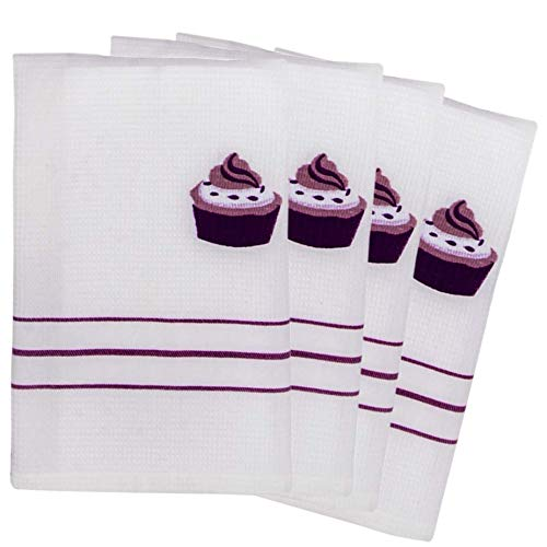 TheLinenBazaar Fine Quality Waffle Weave Kitchen Towels, Decorative Dish Cloth Set of 4, 100% Cotton Tea Towels, Super Absorbent, 18 by 24 Inch - Purple Cupcake -