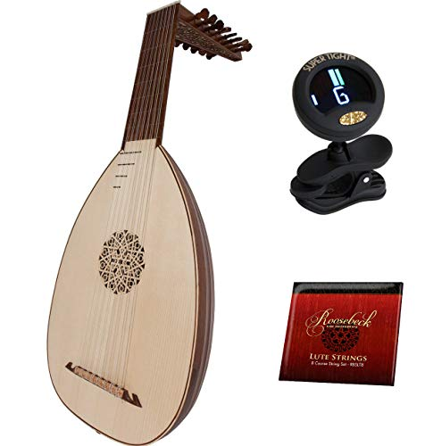 8 Course Lute Package Includes: Roosebeck Deluxe 8-Course Lute Sheesham - Lefty Left Hand + Roosebeck 8-Course Lute String Set + Snark Clip-On Chromatic Tuner For Guitar, Lute, Oud Dulcimer