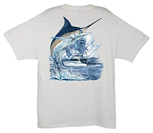 Guy Harvey Marlin Boat T-Shirt - White - Large