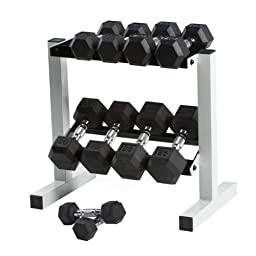 Cap Barbell Rubber Hex Dumbbell Set, 150-Pound