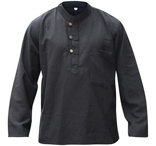 ens Plain Hemp Collarless Grandad Shirt Full Sleeved Hippie Summer Light Tops[L,Black] ()