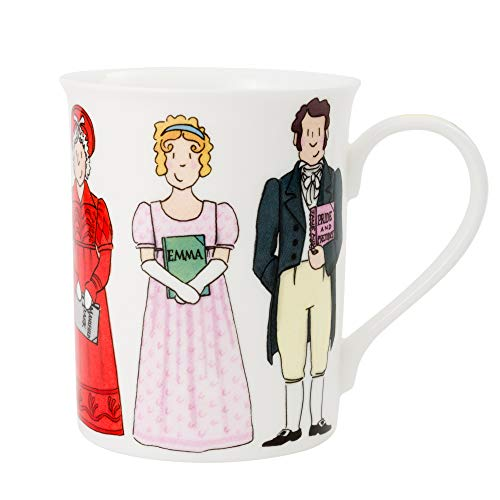 Alison Gardiner Famous Illustrator - Jane Austen Characters and Books Commemorative Fine Bone China Coffee Cup and Tea Mug - Premium Quality and Detail