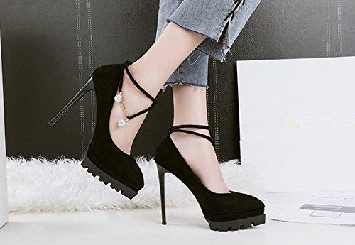 haut talons la Couleur coréenne de pour Discothèque Sexy LBDX femmes taille hauts 36 Noir talon Gris Chaussures à Strass Chaussures Chaussures mode Mode mince simples Pointue AWpp8n1ca