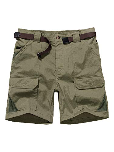 Expandable Waist Pack - Women's Outdoor Casual Expandable Waist Lightweight Water Resistant Quick Dry Cargo Fishing Hiking Shorts #2105-Khaki,38