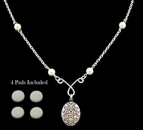 (Aromatherapy Essential Oil Diffuser Necklace Locket Pendant, Silver Filigree Locket, 18 Inch Silver Chain with White Swarovski Pearls, 4 Replacement Pads Included, Picture Locket Fashion Necklace)