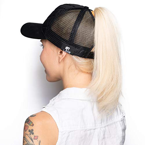 LoveLife Quilted Ponytail Baseball Hats (Black) by LoveLife (Image #6)