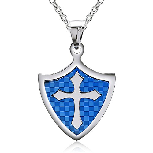 [Epinki Stainless Steel Couple Necklace Knight Shield Cross Blue] (Vintage Belly Dance Costumes For Sale)