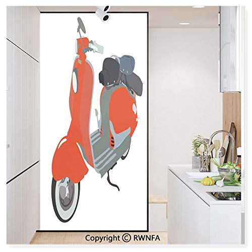 RWNFA Non-Adhesive Privacy Window Film Door Sticker Motor Scooter Doodle in Nice Sixties Style Driving Motorcycle Urban Cartoon Clipart Glass Film 23.6 in. by 78.7in. (60cm by -