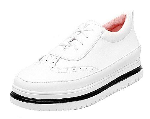 AgooLar Damen Schnüren Rund Zehe Niedriger Absatz PU Rein Pumps Schuhe Weiß