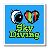 3dRose HT_106517_1 Bright Eye Heart I Love Skydiving-Iron on Heat Transfer for Material, 8 by 8-Inch, White