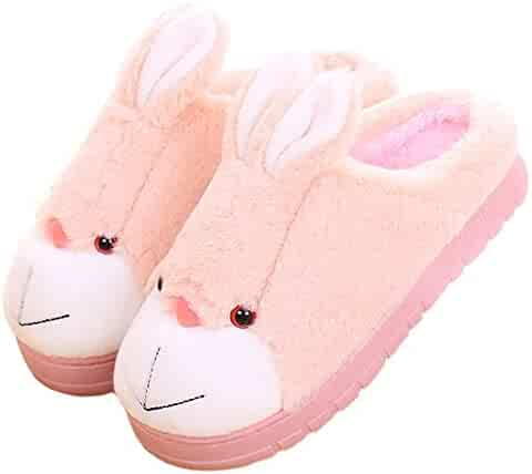 40af6e8f348 Blubi Women s Plush Closed Toe Bunny Slippers Comfort Novelty Slippers  House Slippers