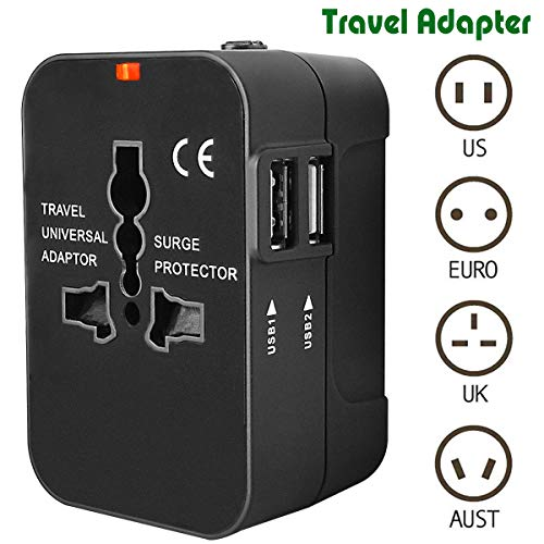 Travel Adapter, Heagstat Worldwide All in One Universal Power Converters USB Wall Charger AC Power Plug Adapter with 2.1Amp Dual USB Charging Ports for USA EU UK AUS Cell Phone Laptop (Black) (Best Accessories For Iphone 6s In India)