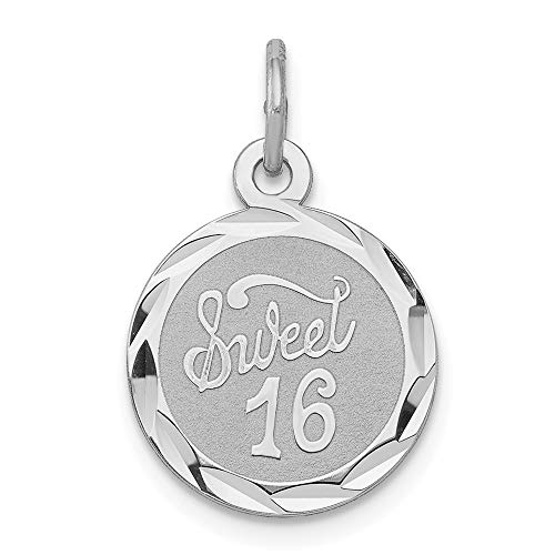925 Sterling Silver Sweet 16 Medal Pendant Sixteenth Birthday Charm Disc