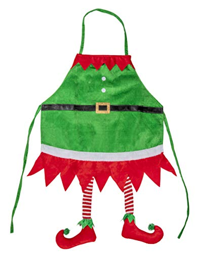Juvale Christmas Elf Apron - Holiday Santa Elf Kitchen Chef Apron with Hanging Legs Design, for Cooking and Baking, Festive Gag Gift, White Elephant Gift for Unisex Adults, Green, 35 x 23 Inches