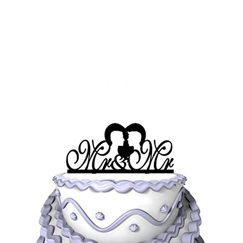 Meijiafei Wedding Cake Topper - Script Mr & Mr with 2 man Silhouette for Same Sex Gay Gift by Meijiafei