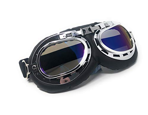 Cosplay un gafas Punk Ultra Cyber Pilot Steampunk Rustic Style motocicleta Plata de Lentes victoriano y Azules estilo Copper Glasses gótico en Premium estilo Vintage Flying Con Marco 0O70Z
