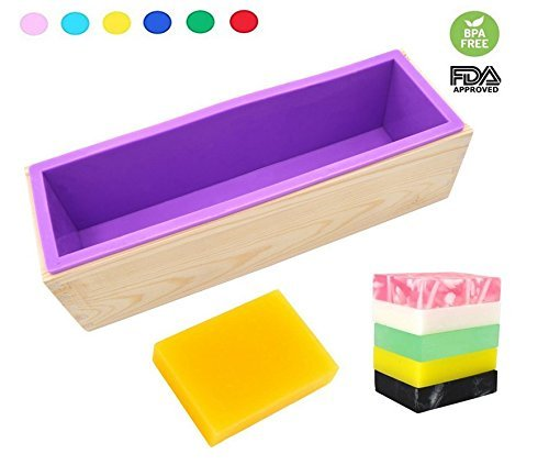 DD-life Flexible Rectangular Soap Silicone Loaf Mold Wood Box for 42oz Soap Making Supplies by DD-life